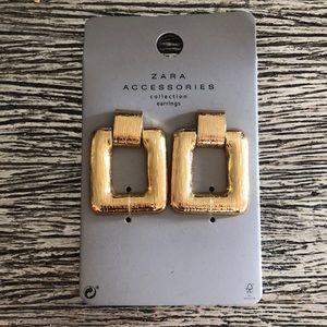 New Zara gold square blogger favorite earrings